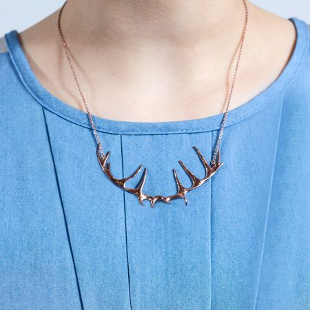Justine Brooks 'Antler Rose Gold Necklace'