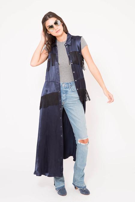 GANNI Donnelly Fringed Satin Midi Dress