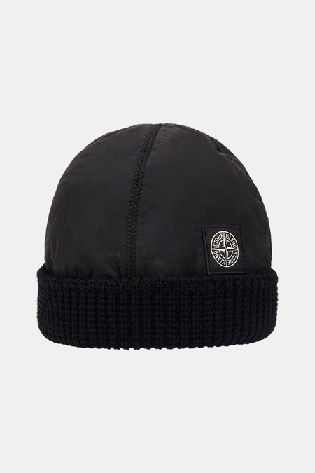 Stone Island Pure Wool w/ Nylon Metal Beanie Cap - Black