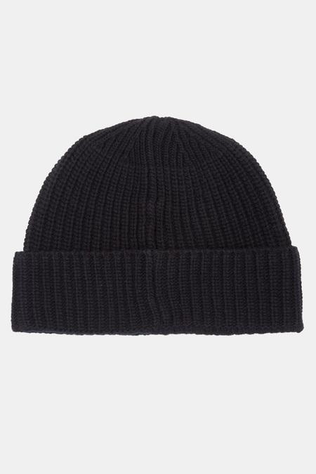 Men's Stone Island Virgin Wool Beanie Cap - Black