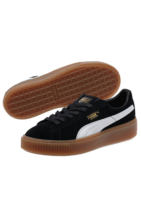 PUMA Suede Platform Women's Sneakers- Black/White