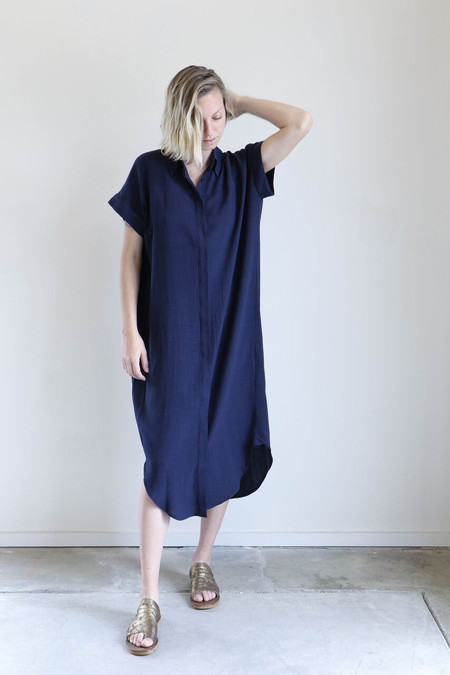 7115 By Szeki Maxi Shirtdress in Navy