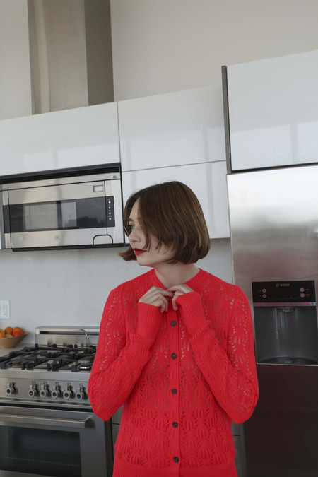 A Détacher Azalea Cardigan in Red Fluo