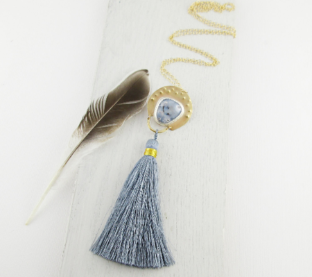 C Alexandria Pale Blue Tassel Necklace