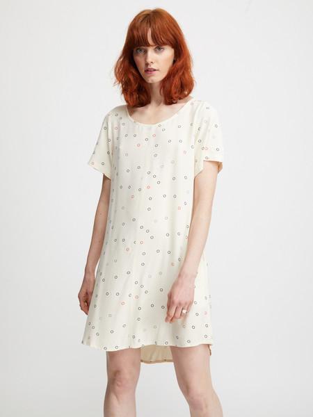 Ali Golden Woven T-Shirt Dress - Cream Rings