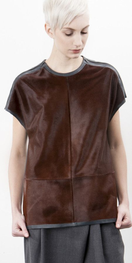 SCHAI Zip Shoulder Pony/Leather Top