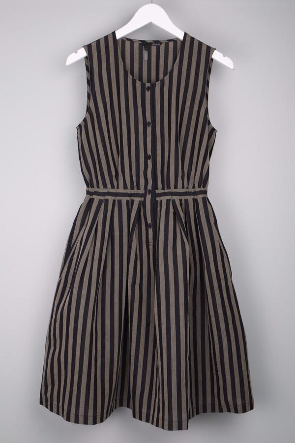 Obakki Navy Stripe Button Up Dress