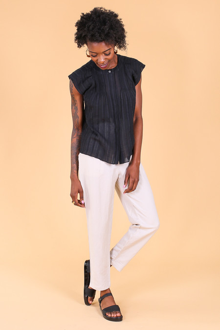 Steven Alan Camaro top in black gauze stripe