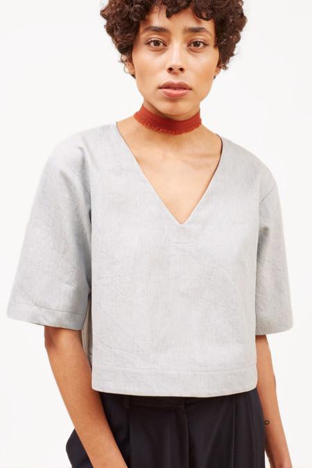 Waltz Studio Drop Shoulder V-neck Top in Cotton/Linen Canvas