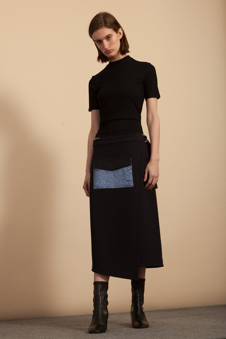 Nomia Pocket Wrap Skirt - Midnight