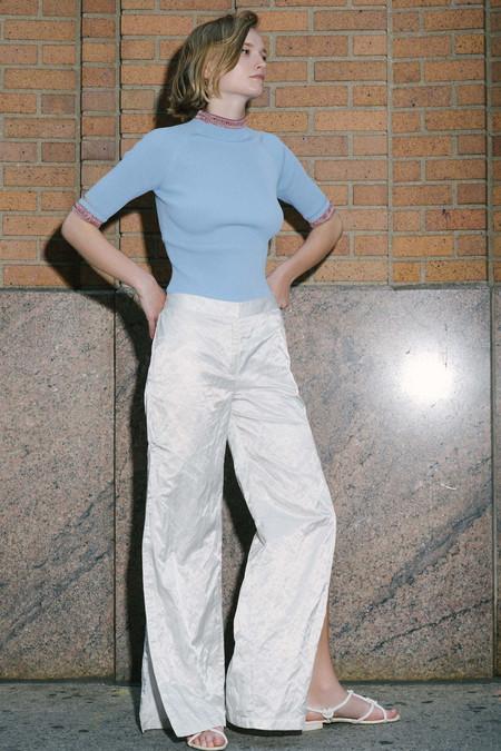 Nomia Slit Sleeve Mockneck - Periwinkle/Brick