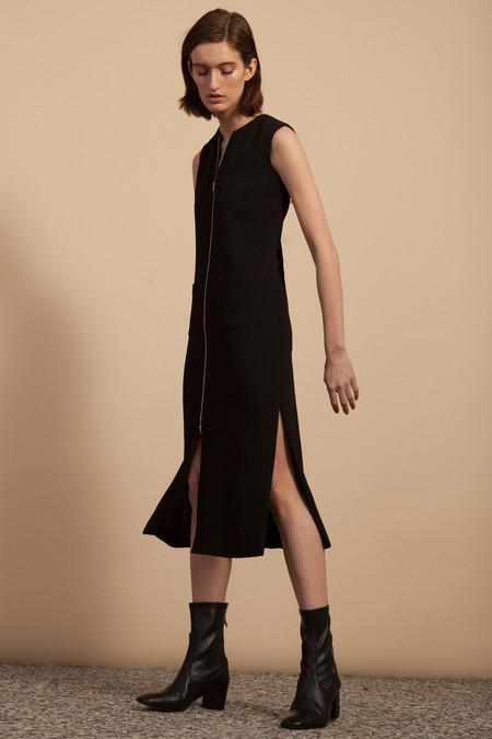 Nomia Zip Front Dress - Black Matte Crepe