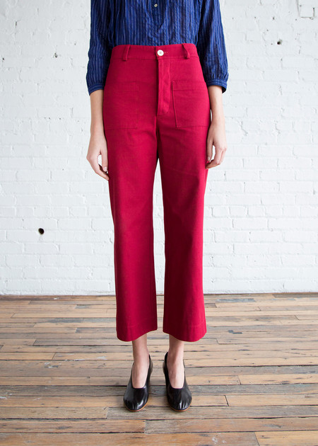 Horses Atelier High-Waisted Trouser Red Organic