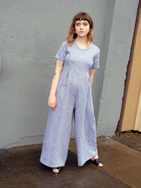 Nikki Chasin ROCCO JUMPSUIT IN CHAMBRAY LINEN