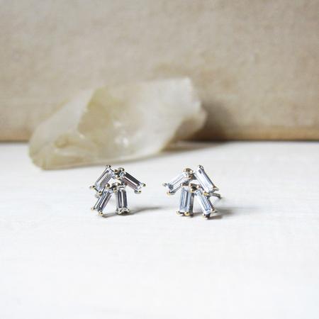 Robindira Unsworth Cluster Baguette Stud Earrings - White Topaz