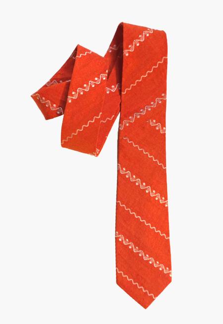 Deshal Zig-Zag Orange Dobby Necktie