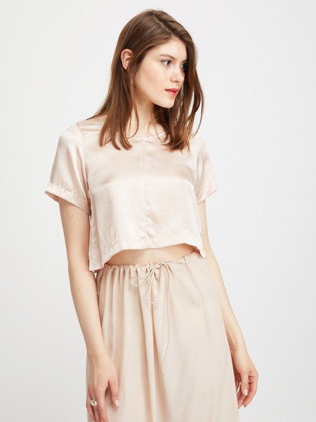 Ali Golden WOVEN T-SHIRT - BLUSH SILK CHARMEUSE