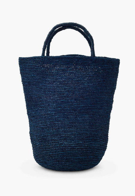 Far & Wide Collective Navy Woven Rafia Handbag