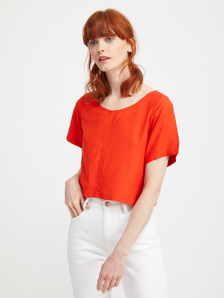 Ali Golden WOVEN T-SHIRT - POPPY