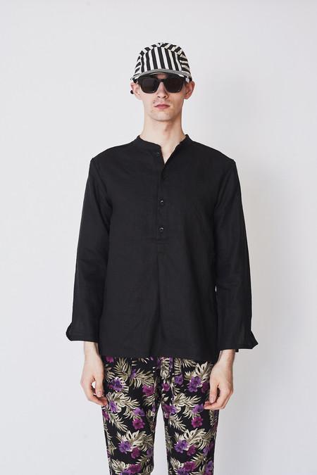 ZED Linen Pullover Shirt - Black