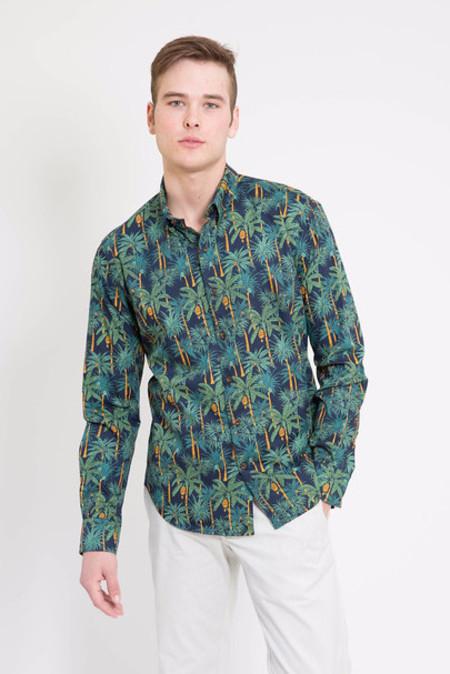 18 Waits Navy Palms Long Sleeve Dylan Shirt