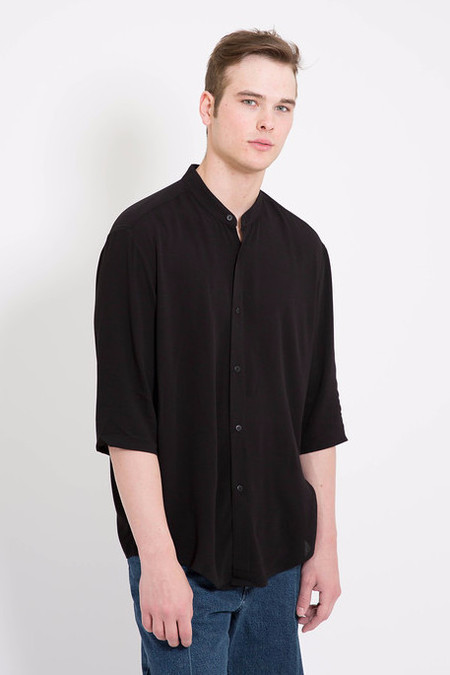 Assembly New York Non Collar Black Crepe Shirt