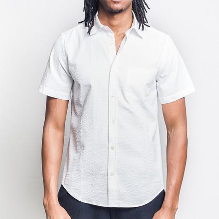 Portuguese Flannel Atlantico Short-Sleeve Shirt - White Seersucker