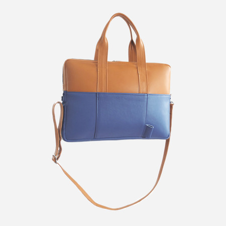Woolfell Slim Briefcase - Tan & Royal Blue