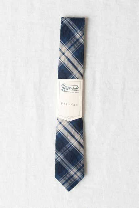 The Hill-Side/Hickoree's Standard Tie In Indigo Seersucker Plaid