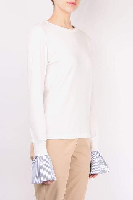 W ATE R Bell Sleeve Long Sleeve Tee - White/Navy Pin Stripe