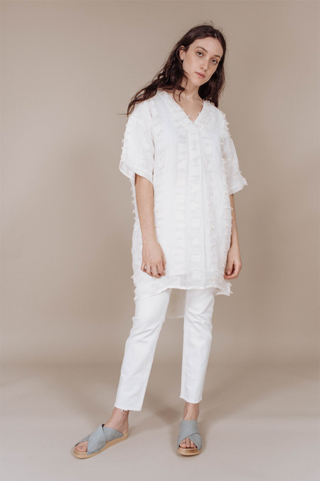 7115 BY SZEKI Fringe V-Neck Dress in Linen