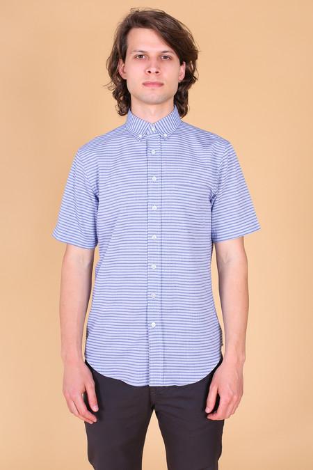 Outclass Diamond Jacquard Short Sleeve Shirt In Blue