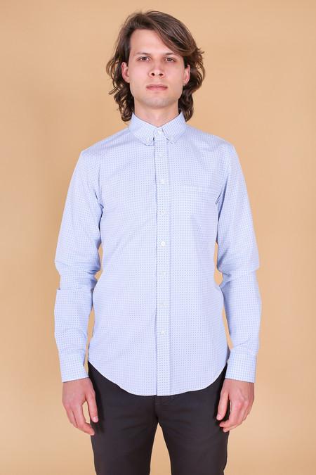 Outclass Pin Dot Long Sleeve Shirt In Light Blue
