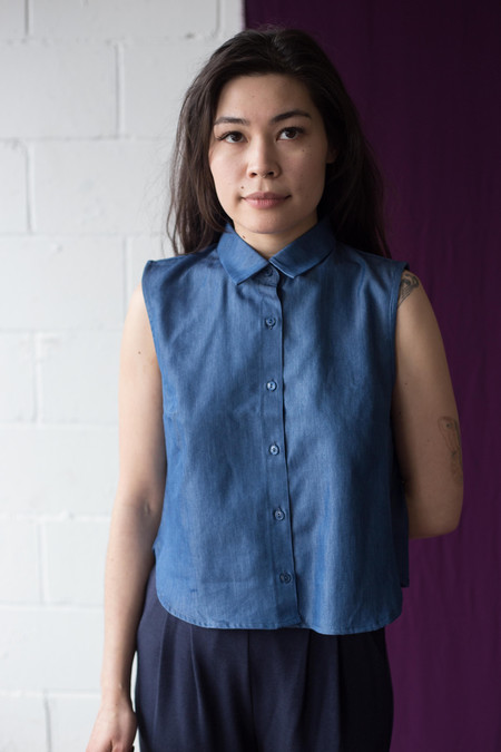 Meemoza Valentine Crop Blouse (Blue Tencel)