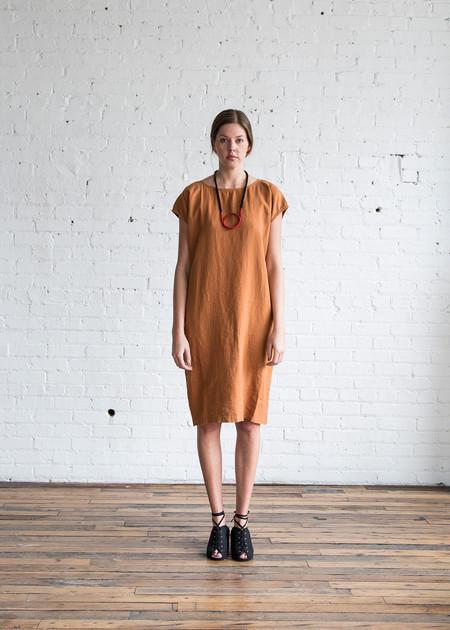 Black Crane Back Slit Open Dress Rust