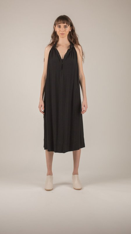 Raquel Allegra - Black Crepe Halter Dress