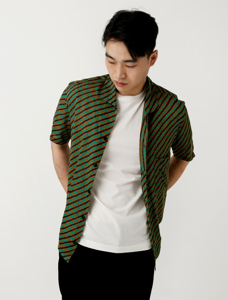 Lemaire Spread Collar Shirt Tobacco Green