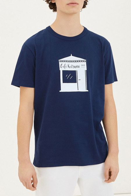 Kitsune Kiosque Tee | Dark Blue