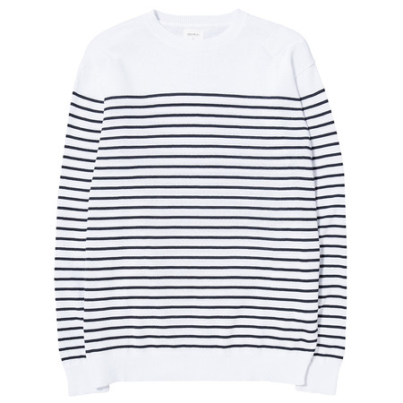 DENIM BY VANQUISH & FRAGMENT STRIPED PANEL CREW NECK KNIT - WHITE / BLUE