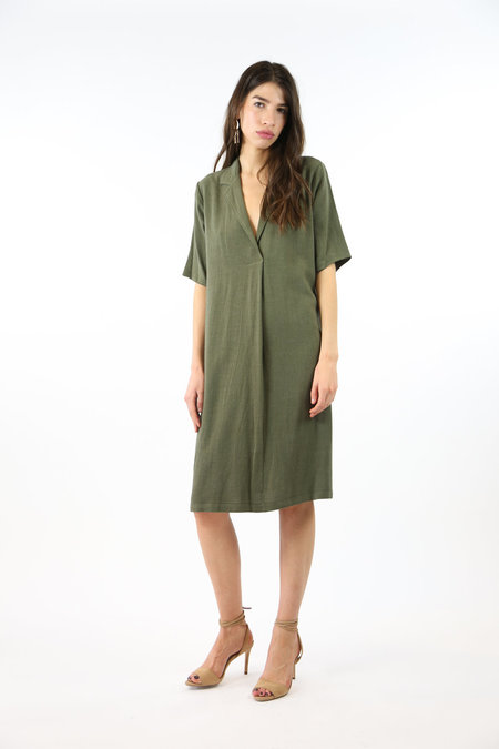 Collection Lapel Long Dress - Olive