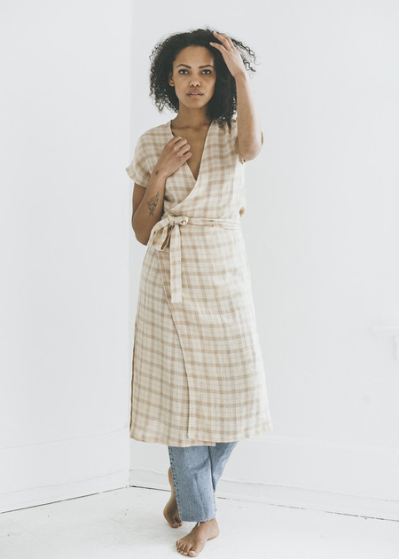 Zii Ropa Aria Wrap Dress in Plaid Linen