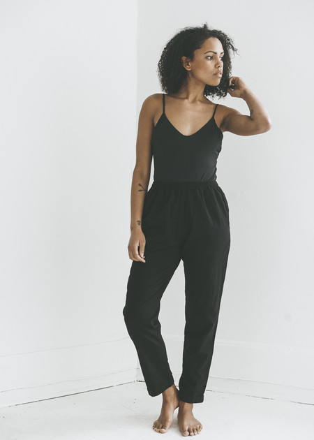 Me & Arrow Cuff Pant in Black Slub Cotton