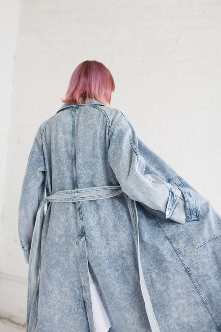Veronique Leroy Long Trench in Light Blue