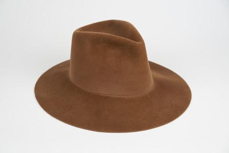 Clyde Wide Brim Pinch Hat in Brandy Angora