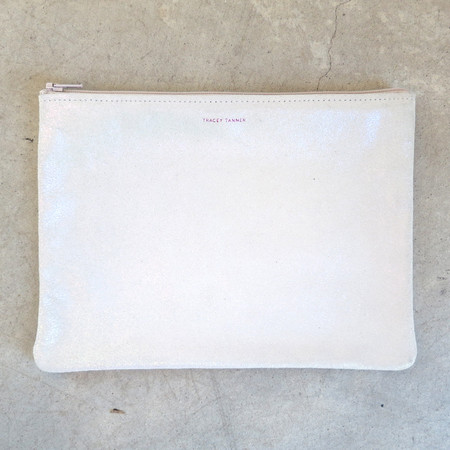 Tracey Tanner Large Flat Zip Pouch in Opal Sparkle