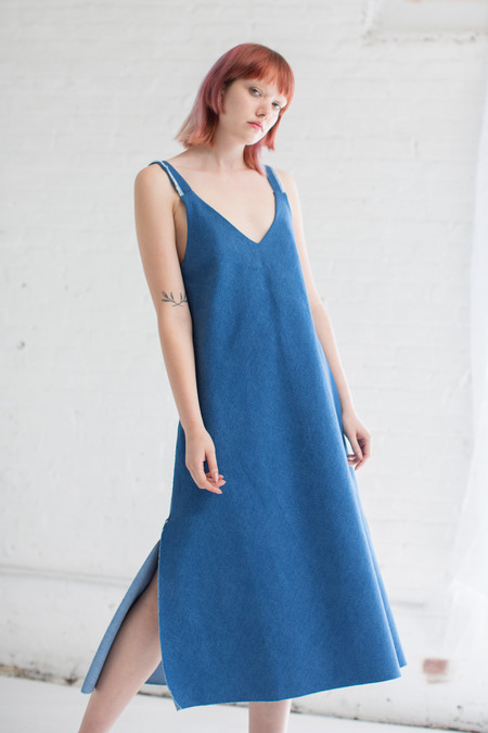 Delfina Balda Lotus Dress in Denim