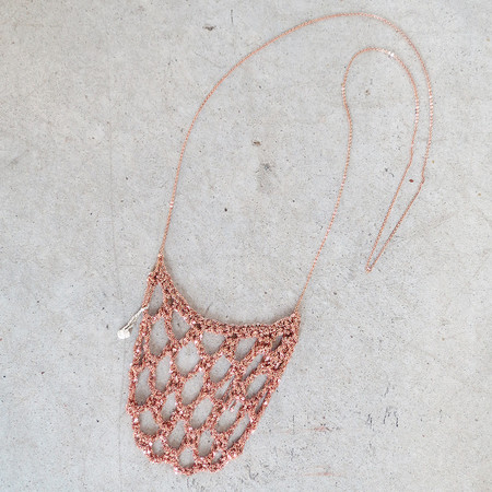 Arielle De Pinto Netted Drop Necklace in Rose Gold