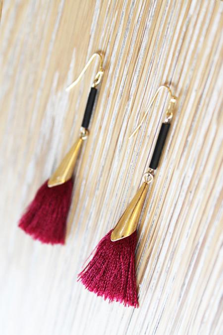Sheila B Maroon Tassel Earrings