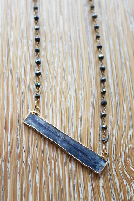 Sheila B Blue Kyanite Bar Necklace