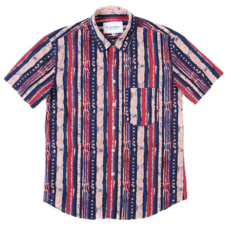 Corridor Short Sleeve Woven Shirt - Handblock Thick Stripe